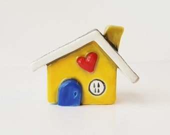 Little Clay House Whimsical Little Yellow House with a Cobalt Blue Door | Ceramic Fairy House Gnome Home | Whimsical Terrarium Decoration