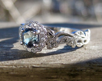 Natural Alexandrite Engagement Ring in 14K White Gold with Diamonds in Vintage Style Vine Setting Size 6