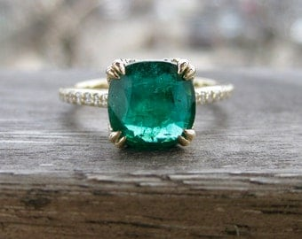 Large Emerald Engagement Ring in 14K Yellow Gold with Diamonds and Scroll Detailing on the Basket Size 6