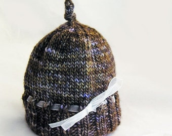 HOLIDAY SALE - Hand Knit Baby Hat, Photo Prop, Merino Wool, Multi Color, Organza Ribbon, Brown Gold Lilac Violet