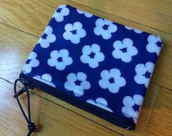 "Finnish blue flower OIL cloth coin purse, 3x4"", cute from Finland"