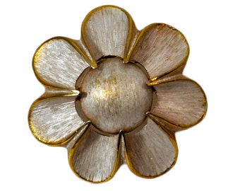 1980s Brushed Gold Tone White Flower Pin Brooch