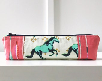 Pencil Pouch in Mustang | Pencil Case | Pencil Bag | Zippered Pouch