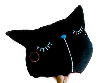 Cat pillow, pillow, black cat, decorative pillow, throw pillow, boyfriend gift, sleepy kitty, sofa pillow, cat lover gift, gift for coworker