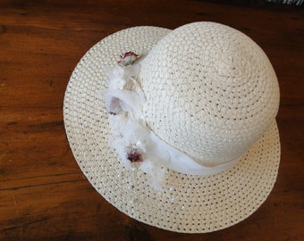 Ladies off white poly Straw hat with floral wreath wedding country wedding theater summer sun hat  formal church horse race