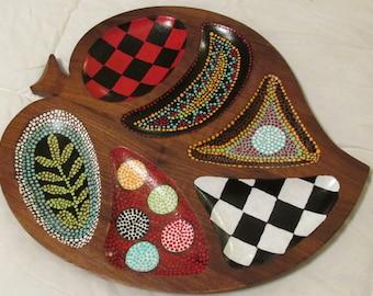 Buffalo check hand painted vintage walnut wood dish dots folk art upcycled