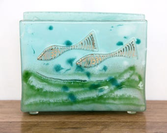 Napkin holder light  blue green ocean gold fish  Fused  glass art .