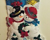 """Handmade Completed/Finished Bucilla Your Love Melts My Heart 18"""" Christmas felt stocking 86552 with free personalization"""