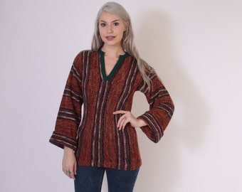 Vintage 70s BOHO SWEATER / 1970s Bell Sleeve Hippie Striped Pullover