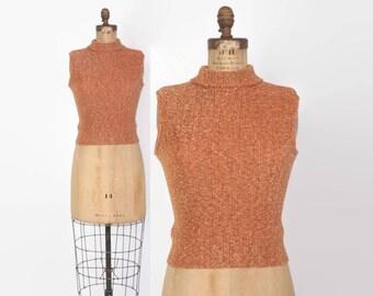 Vintage 60s Metallic SWEATER / 1960s Orange LurexMock Neck Knit Tank