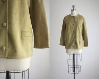 1960s sage suede boxy jacket