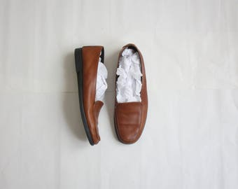 whiskey leather slip on shoes size 8