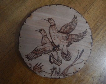 Wood Burnt Image of Flying Ducks Basket Bottom or Other Craft Projects