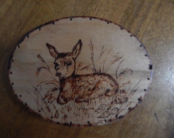 Wood Burnt Image of a Laying Fawn Deer Basket Bottom or Other Craft Project
