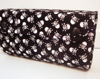 Cash Envelope Budget Wallet Dave Ramsey System Cash Wallet Systme / Zipper Envelopes White Skull on Black with Plum Lining