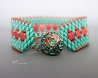 Turquoise and Coral Beadwoven Bracelet with Czech Glass Vitrail Flower Button Close Wide Tile and Superduo Beaded Bracelet