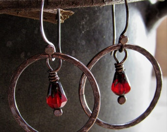 Dark Patina Hammered Copper Hoop Earrings with Red Czech Glass Bead Dangles - Gypsy- Hippie - Copper Jewelry - Rustic - Grungy - Gothic