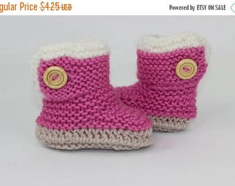 50% OFF SALE Instant Digital File pdf download knitting pattern - Chunky Baby Fur Trim One Button Booties