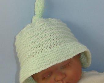 50% OFF SALE Knitting Pattern Digital pdf download - Baby Big Brim Stripey Topknot Beanie knitting pattern- MADMONKEYKNITS