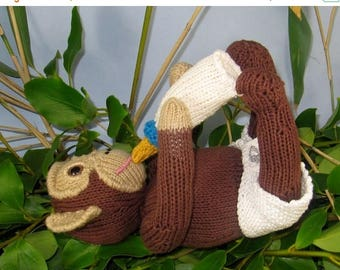 50% OFF SALE Instant Digital File PDF Download knitting pattern -Charlie Baby Chimpanzee toy animal knitting pattern pdf download