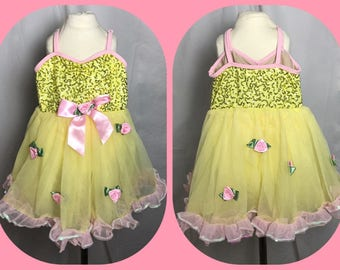 Girl's Belle Themed Dance Dress Leotard with Sequined Bodice and Pink Rosettes - Size 4
