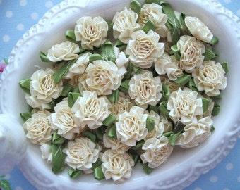 Satin Cabbage Roses - Cream - Set of 10