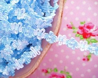 Rococo Gimp Flower Braid Trim - Blue and White - 1/2 inch - 3 Yards