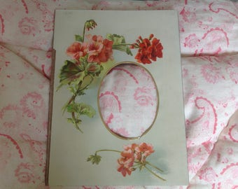 Vintage Victorian or Edwardian Floral Photo Mount Geranium