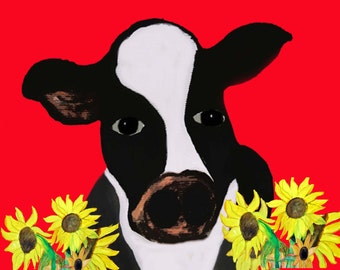 Cow on red with sunflowers place mats from my art