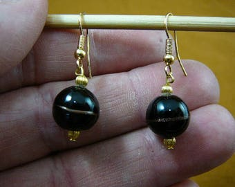12 mm opaque Black with copper swirl 16x12 mm bead glass dangle gold beads earrings lampwork EE504-78