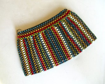 1930's Multi-color Wooden Beaded Clutch by Schonanek Made in Czechoslovakia