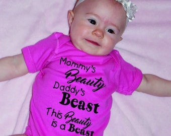 Custom New Baby Gifts, Shirt Sayings, Mommy Beauty Daddy Beast, Onesie T-shirts With Quotes, Unique Gifts, custom shirts, tshirt printing