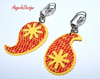 Feminine Paisly Earrings - Litht Weight Yellow, Orange,Red Polymer clay earrings