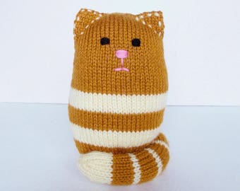 "Hand Knit Cat Stuffed Animal, Toddler Toy, Child Gift, Boy or Girl, Baby Shower Gift, Sitting Plush Doll, Infant Nursery Shelf Decor 7 1/2"""