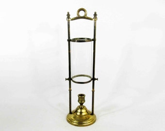 Vintage Adjustable Brass Hurricane Candle Holder. Circa 1950's.