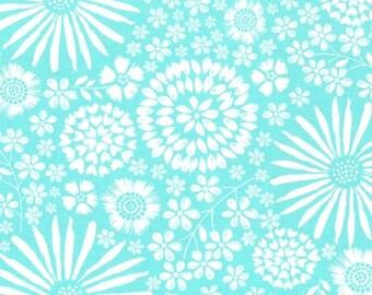 Michael Miller Fabric Flora Pop in color Aqua, Choose your cut