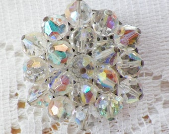 Vintage Aurora Borealis / AB Clear Bead Circle / Wreath Pin / Brooch / Broach, Shimmery Beads, Faceted / Facets, Bridal, Free US Shipping