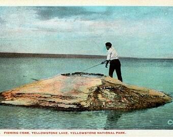 Yellowstone National Park Vintage Postcard - Fishing Cone and Yellowstone Lake (Unused)