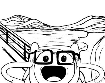 The Scream Meets Adventure Time - Finn The Human  - Coloring Book Page - Instant Digital Download - Desert Landscape DIY Printable Art