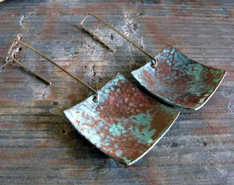 Copper verdigris patina earrings. Antiqued sterling silver handmade hooks. Aged jewelry. Organic squares. Beach Stroll.
