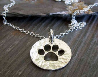 Dog or cat paw sterling silver pendant necklace. Animal lover gift. Dainty cable chain. Rescue dog. Pet gift. Simple necklace.
