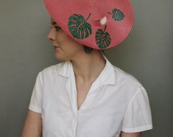Pink Sun - Hat with monstera leaves - Tie on Straw Travel hat - summer hat - wide brimmed hat