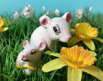 Vintage Ornaments - Two Mice - White Mice - Vintage Figurines - Little Mice - Ceramic Figures - Cute Curiosities - Brandy Glass Mice
