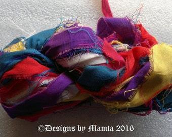 Art Silk Ribbon Yarn, Sari Silk Yarns & Ribbons, Crochet Yarn, Fair Trade Yarn, Scrapbook Ribbon, Recycled Multi Colored Sari Ribbon Yarn
