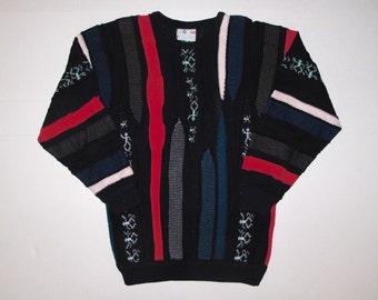 COOGI Australia Sweater Unisex Large Runs Narrow / Slim Fit Vintage Coogi Sweater L, Black Hot Bright Colors Coogi Sweater Mercerized Cotton