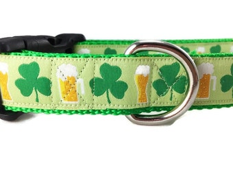 St Patricks Dog Collar, Shamrocks and Beer, 1 inch wide, adjustable, quick release, metal buckle, chain, martingale, hybrid, nylon