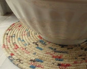 Golden Tan, Denim Blue and Red Coiled Table Mat, Chair Pad, Hot Pad, Trivet, Placemat - 14 INCH ROUND