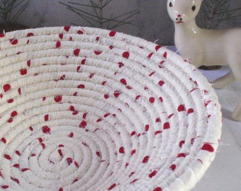 Cream and Red Coiled Fabric Basket - Catchall, Organizer, Handmade by Me