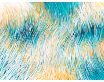 Large Abstract Painting, Coastal Home Decor, Modern Beach House Decor, 30x40 Canvas, Ocean Abstract Art, Turquoise White Orange