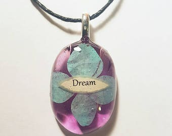 Dream Flower Resin Pendant Nature Necklace Bohemian Jewelry Quote Scroll  Inspirational Quote Blue Purple